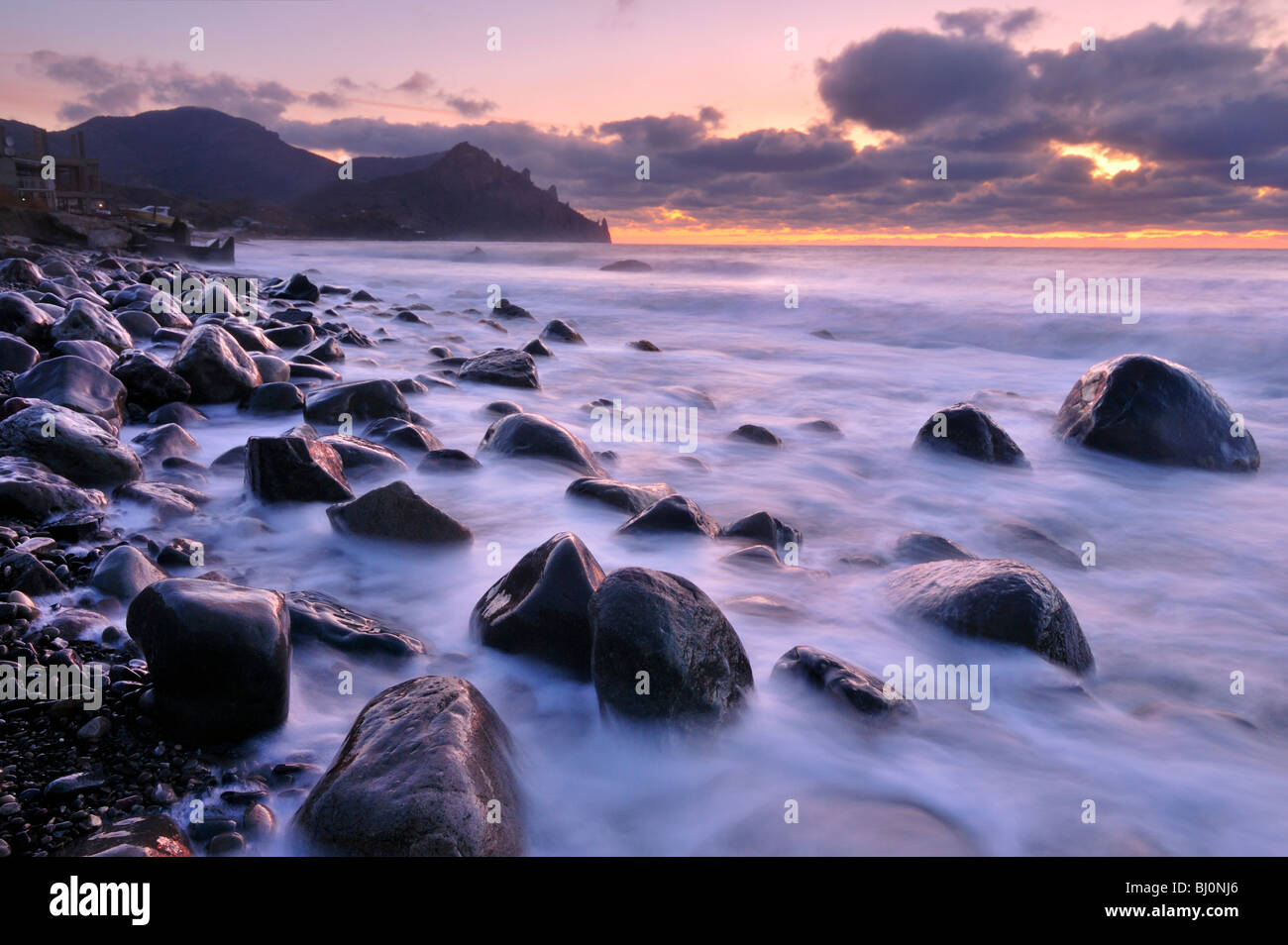 black sea coast near kurortnoye on crimea - Stock Image