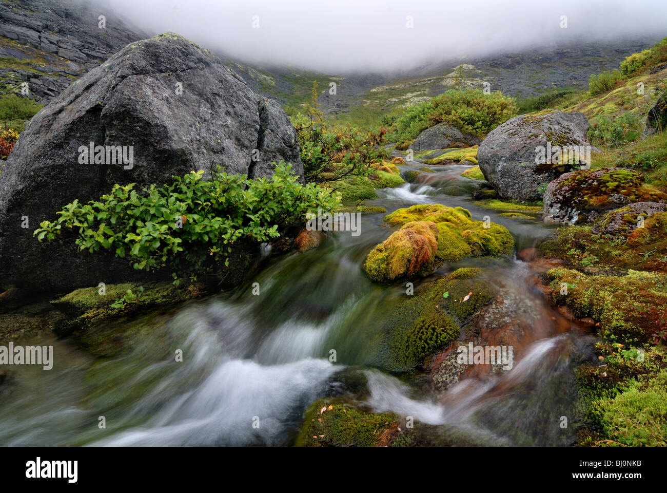 brook in chasnaiok river valley on crimea - Stock Image