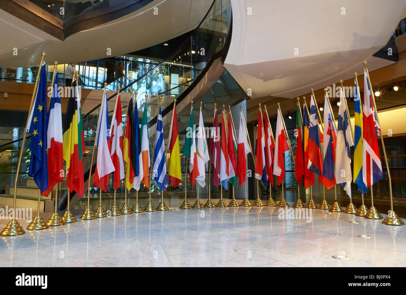 Flags of the EU-nations in the European Parliament building, Strasbourg, France - Stock Image