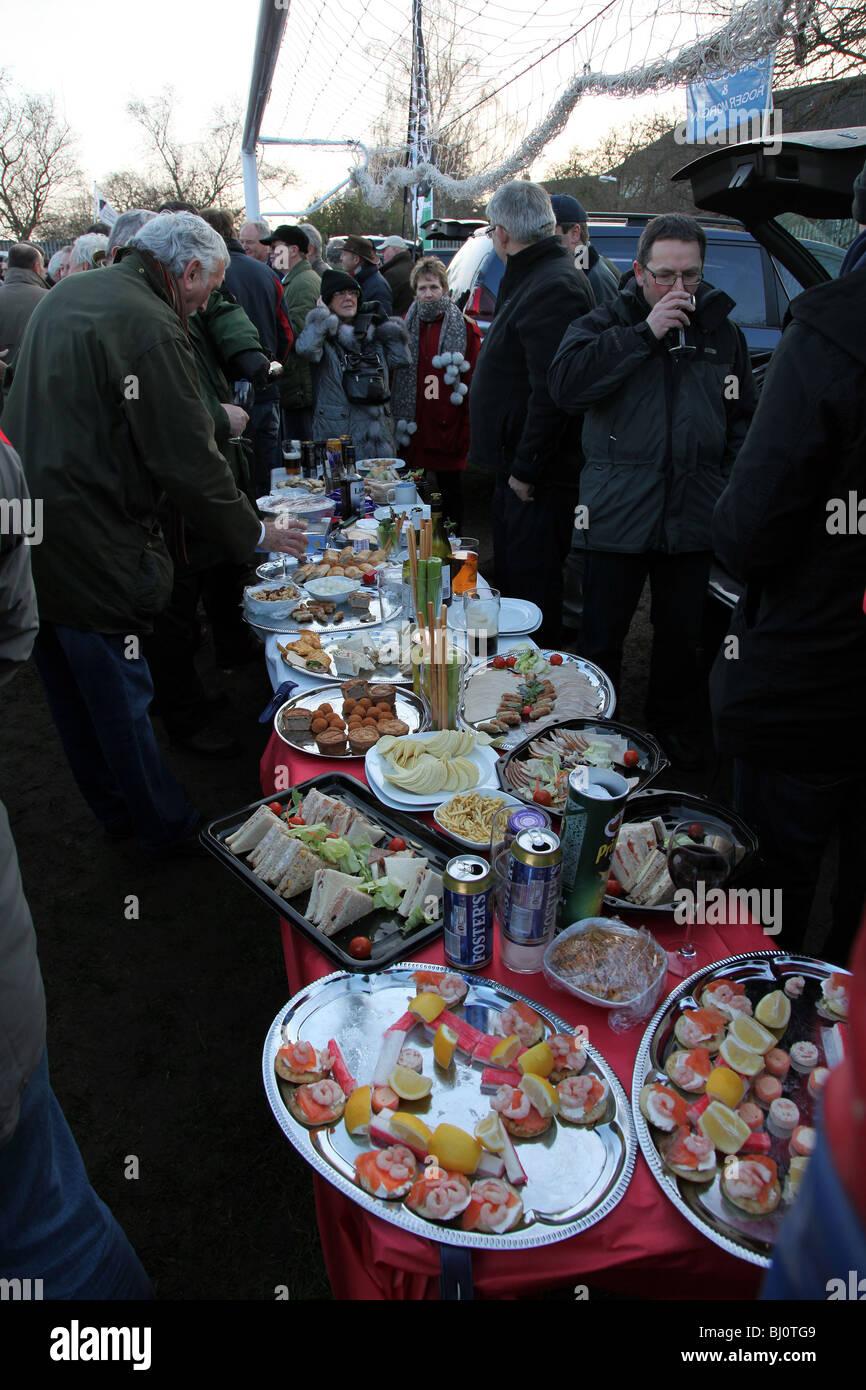 Pre-match buffet spread in the car park at Twickenham Stadium - England v Wales 2010 - Stock Image