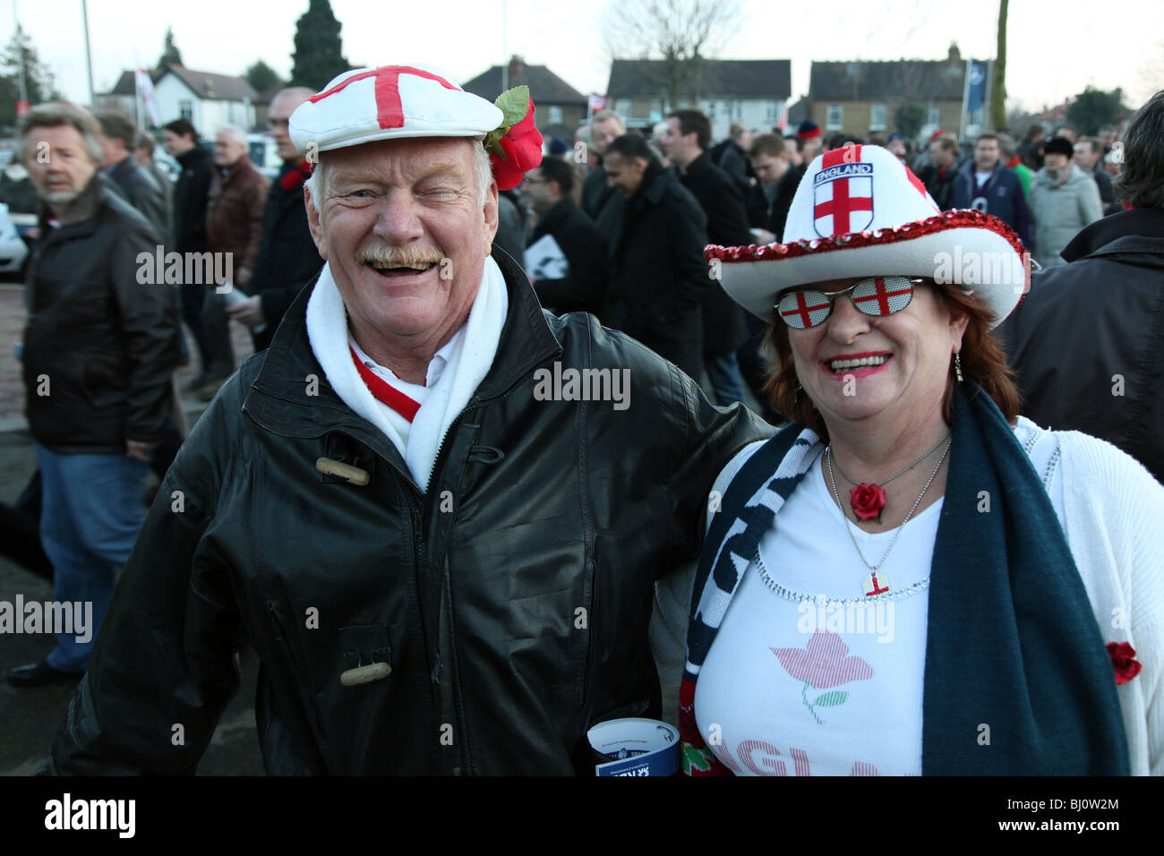English rugby supporters at Twickenham for Enland v Wales 2010 - Stock Image