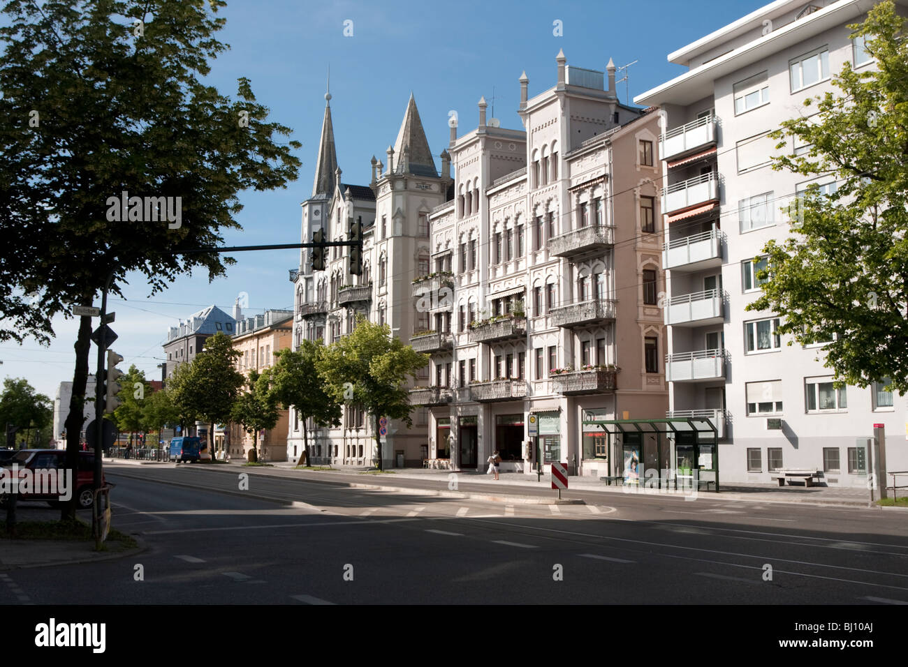 Street scene and Buildings FrolichStrabe Augsburg Germany - Stock Image