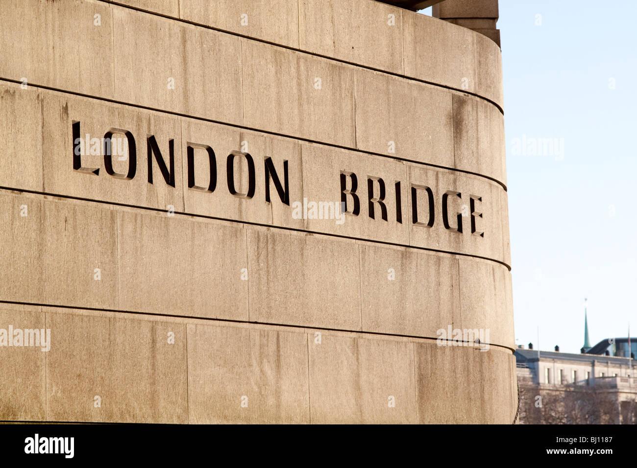 Engraving on London Bridge - Stock Image