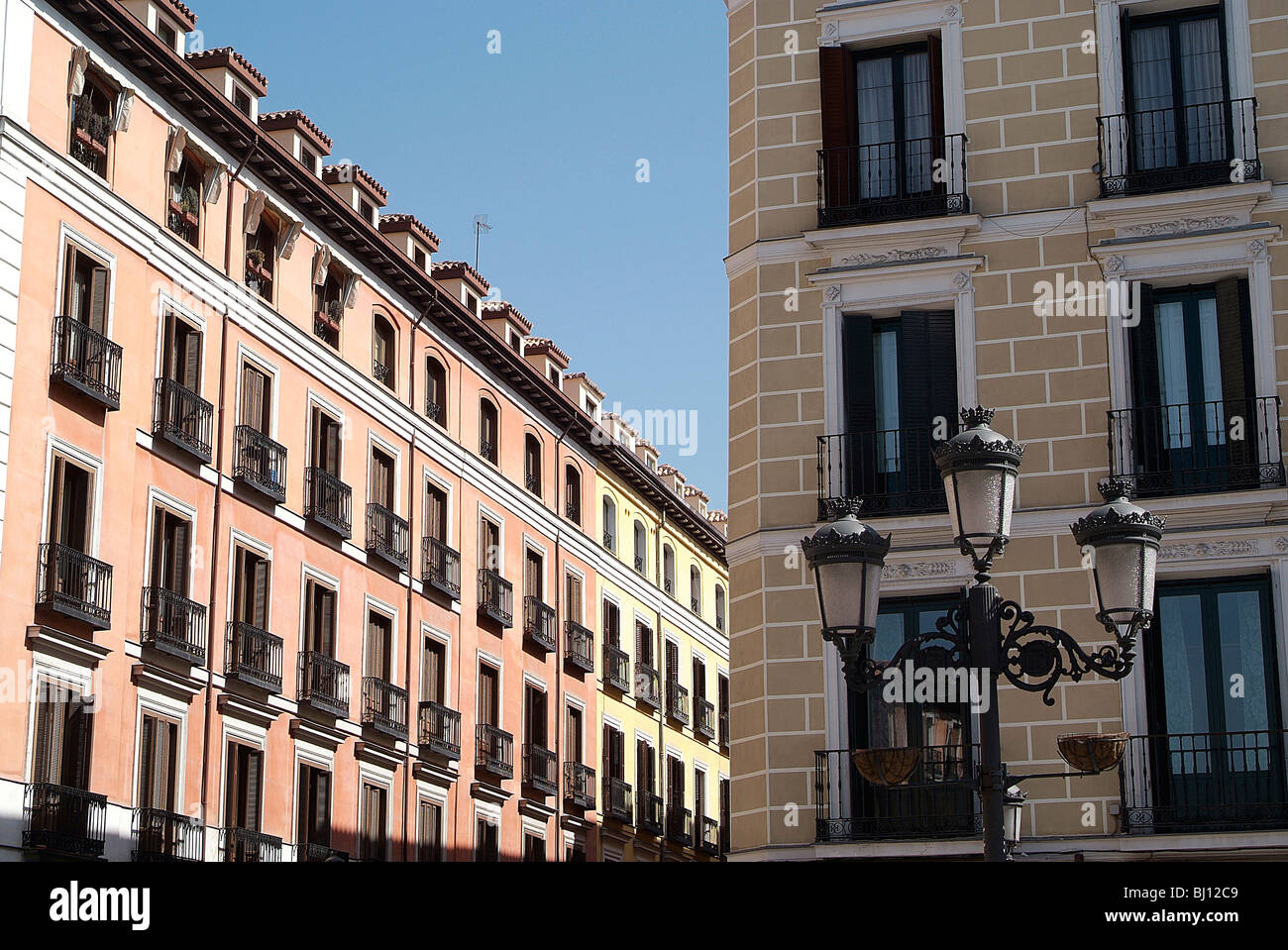 Row of houses in the old town, Madrid, Spain - Stock Image
