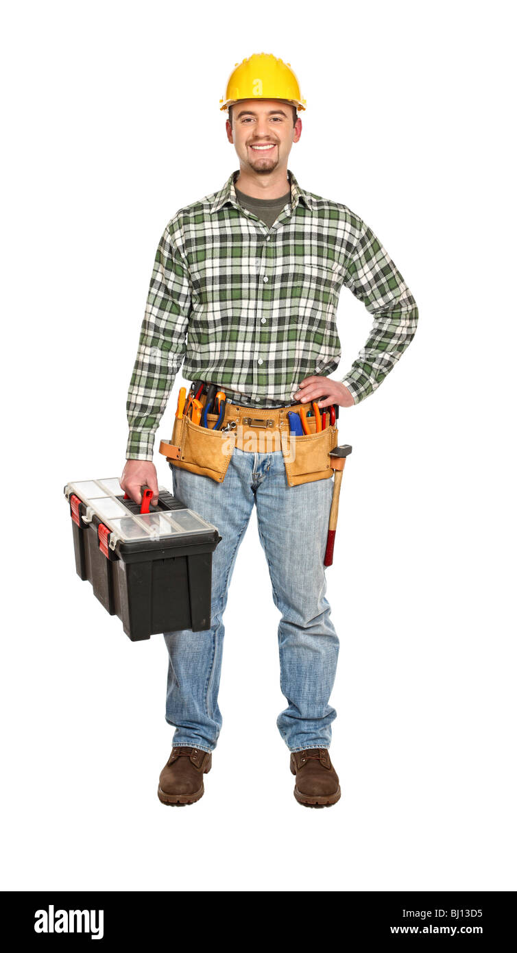 manual worker portrait with tooslbox isolated on white - Stock Image