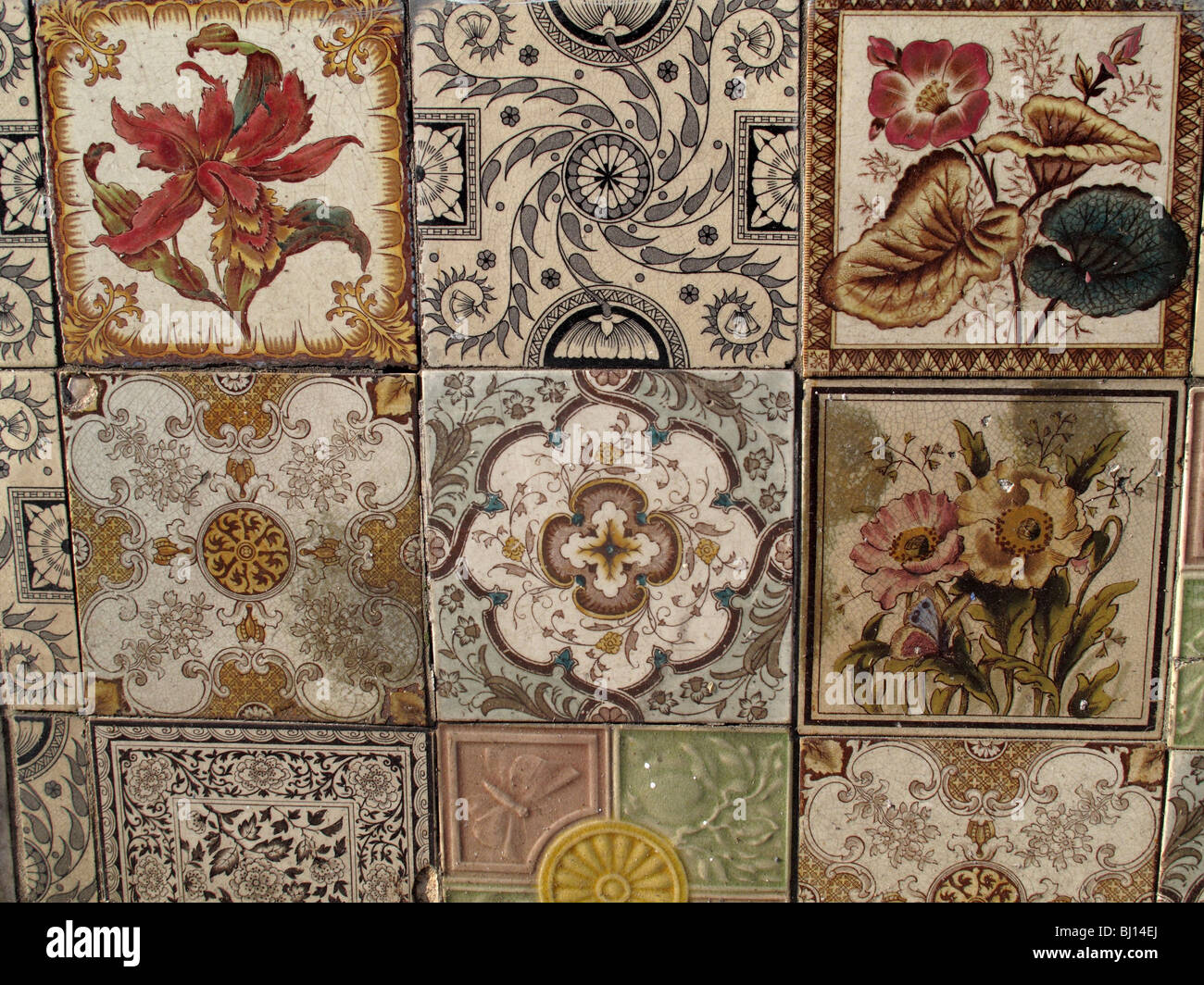 Old decorative tiles - Stock Image