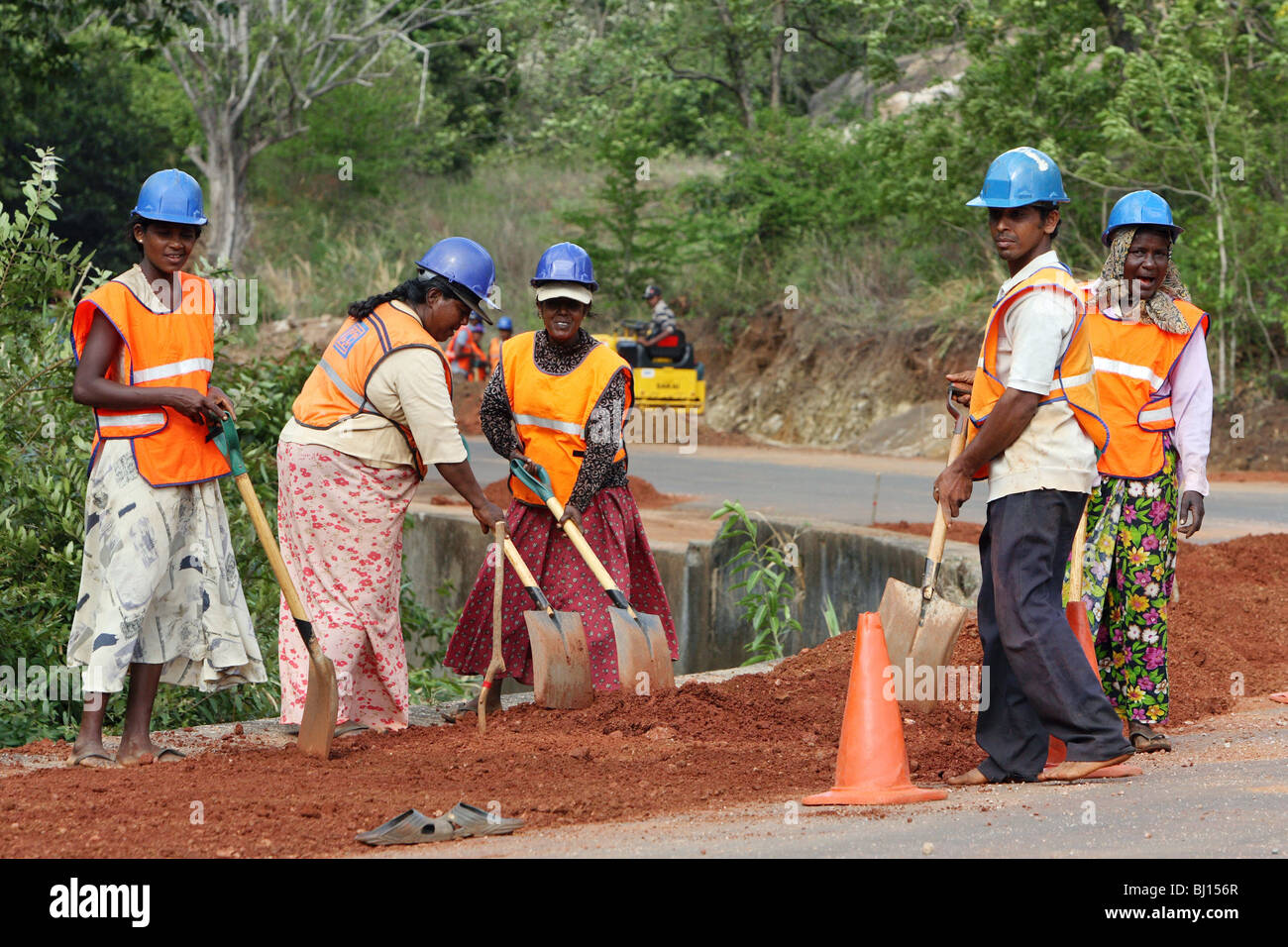 Road construction, Matale, Sri Lanka - Stock Image