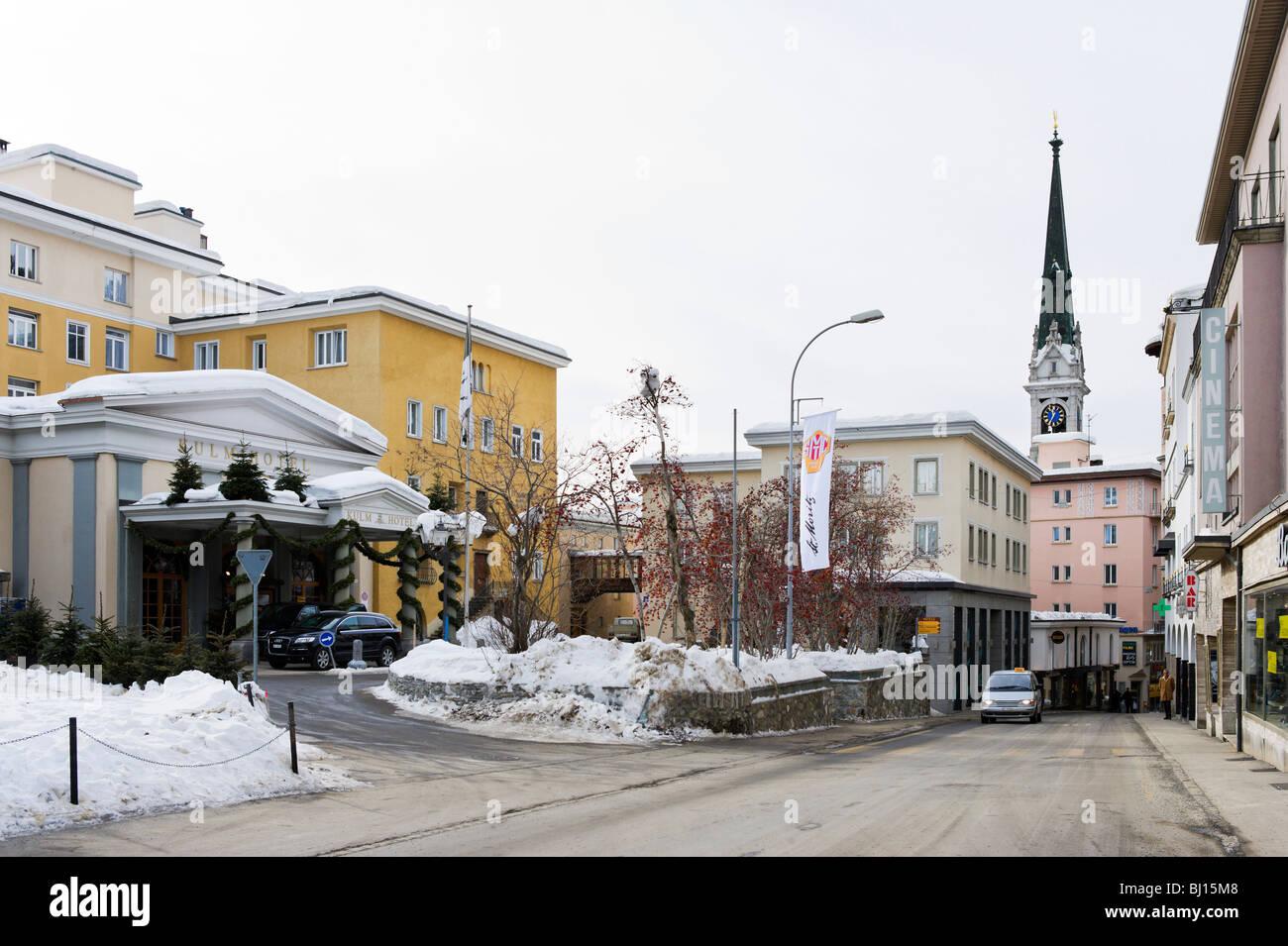 Hotel Kulm and shops in the centre of St Moritz Dorf, St Moritz, Switzerland - Stock Image