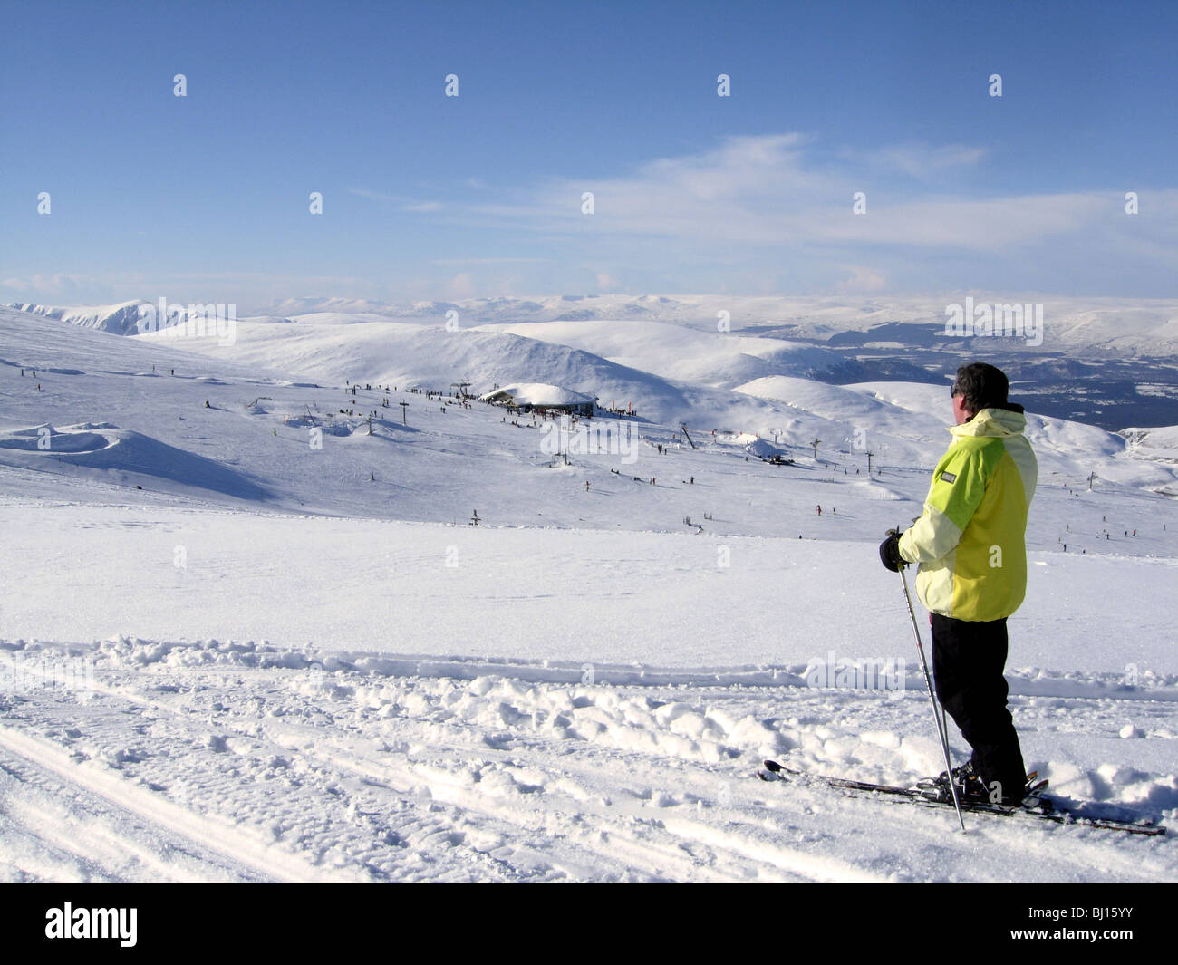 Skiing in the Cairngorm Mountains Scotland in 2010 - Stock Image