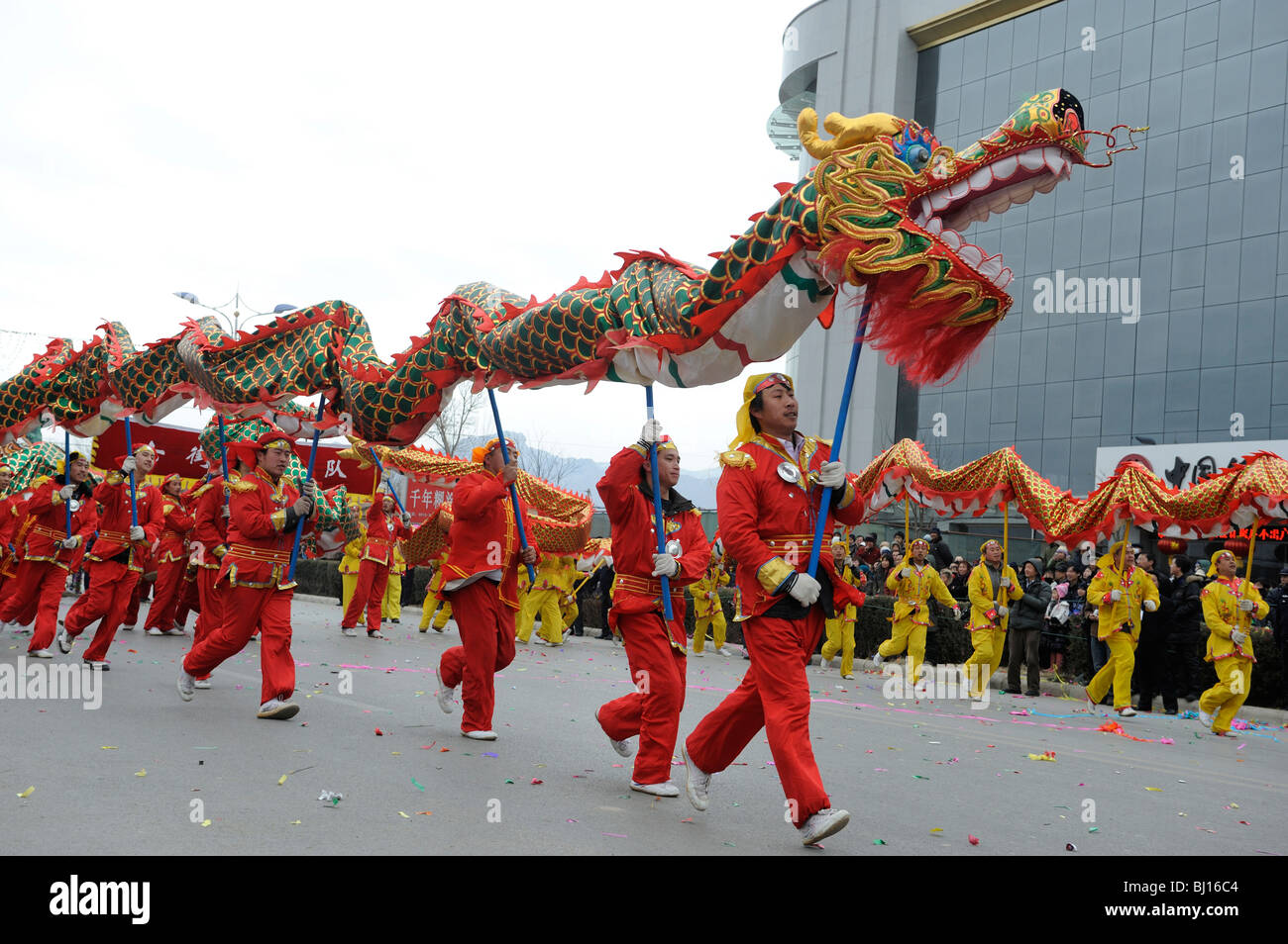 00aa518a3 People perform traditional dragon dancing during Yuanxiao Festival or the  Lantern Festival in Yuxian, Hebei, China. 28-Feb-2010