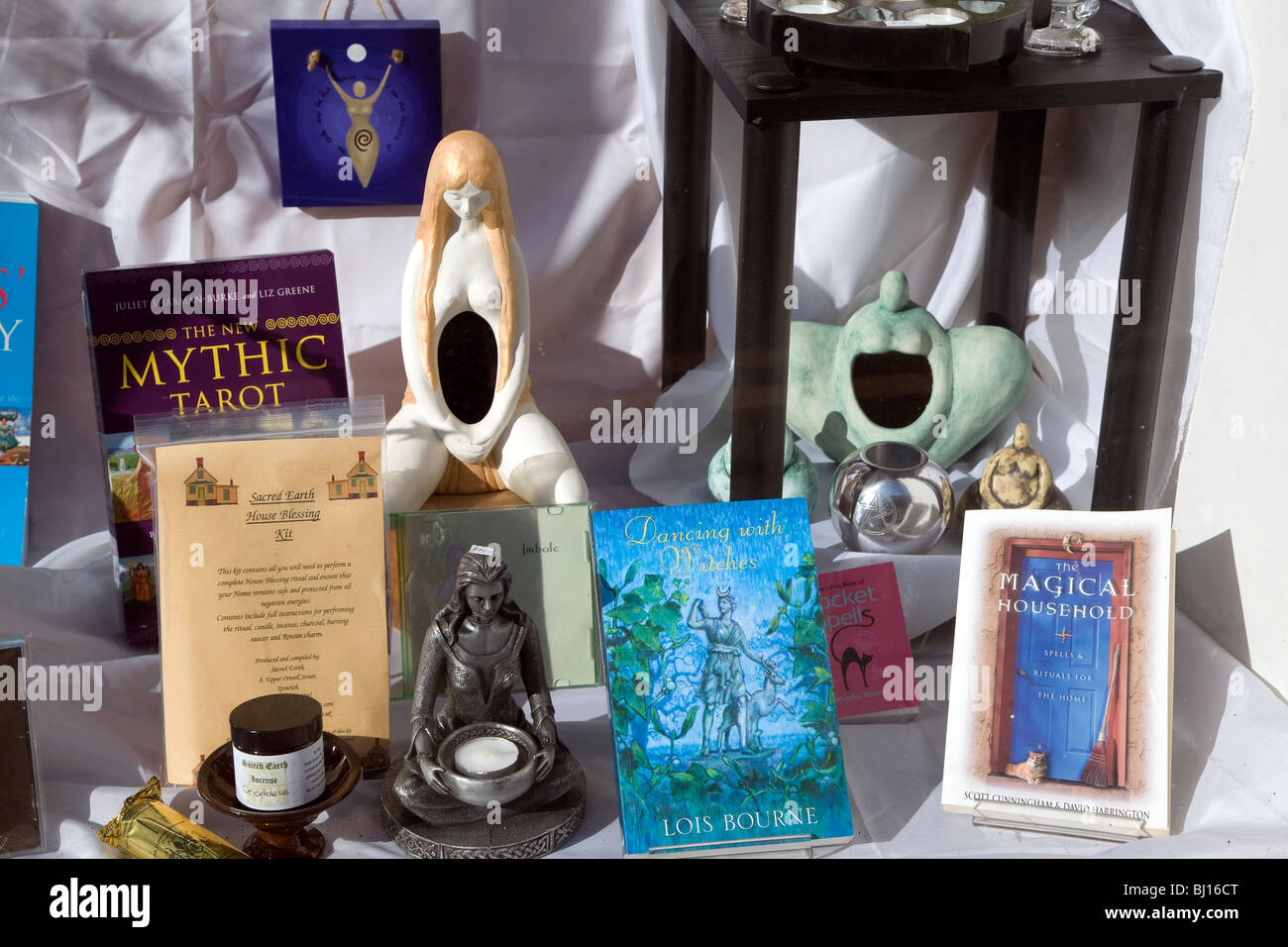 Window display in alternative mystical shop - Stock Image