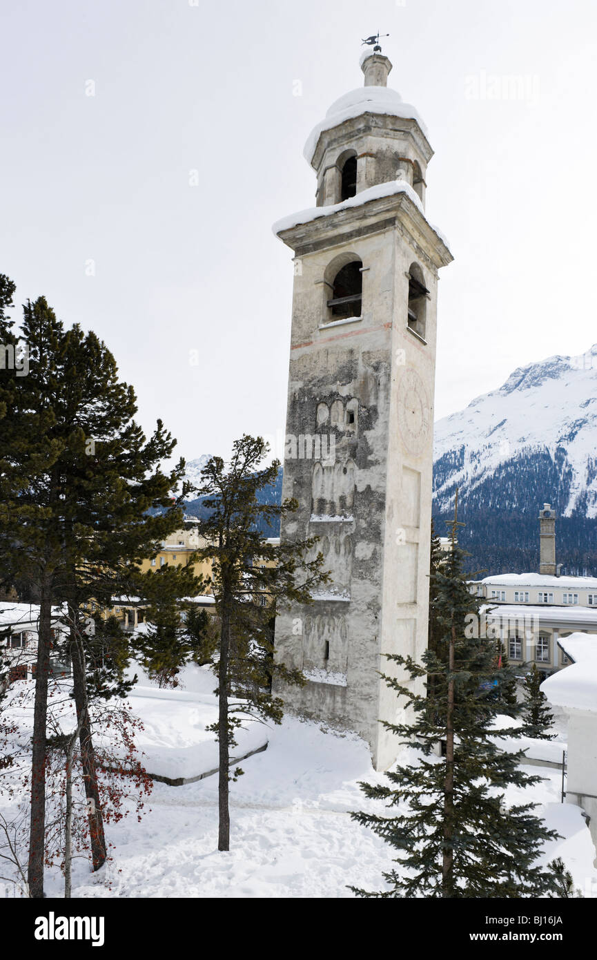 The Schiefer Turm (Leaning Tower) in the centre of St Moritz Dorf, St Moritz, Switzerland - Stock Image