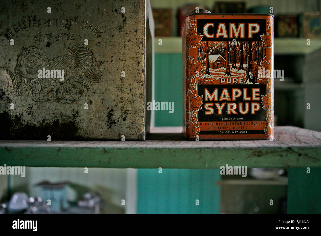 Maple Syrup Can, Historic Hat Creek Ranch, Cache Creek, British Columbia, Canada - Stock Image