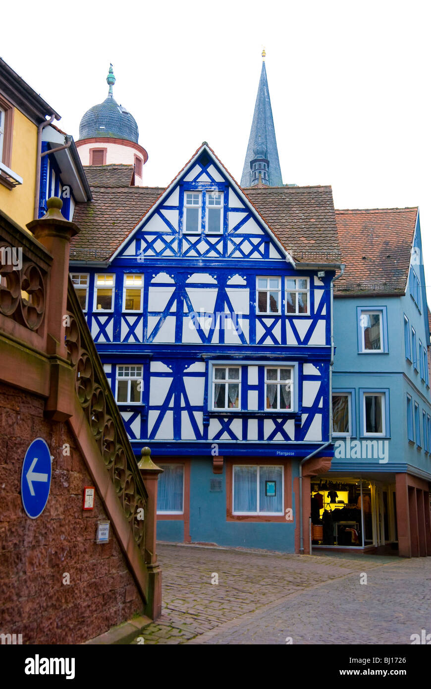 Well preserved half-timbered buildings, many built in 16th century, in Wertheim, Germany - Stock Image