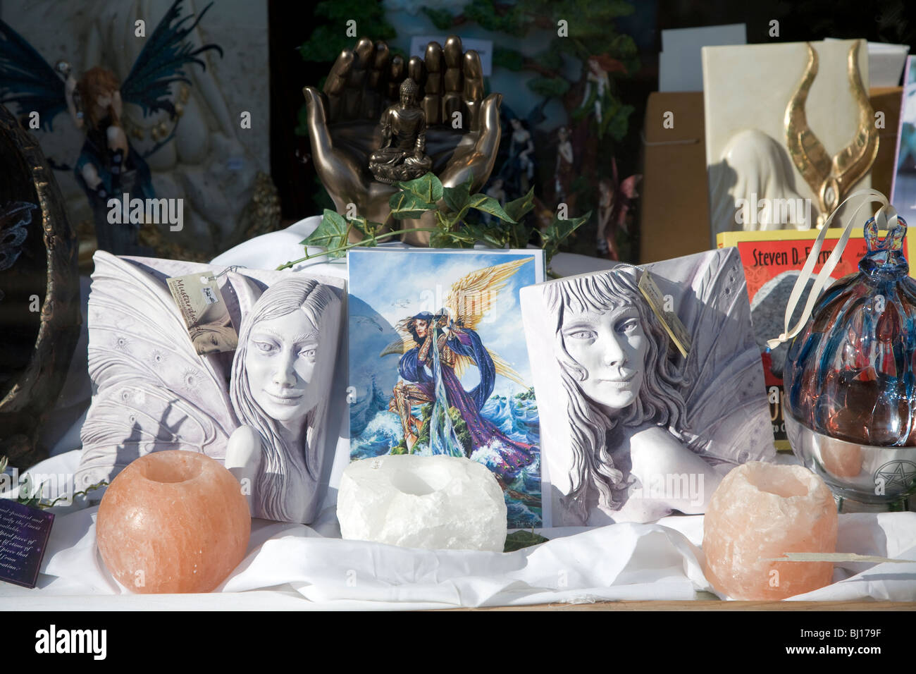 Window display in alternative mystical crystal shop - Stock Image