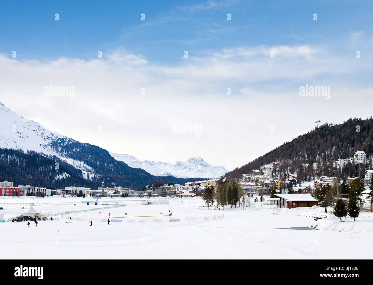View over the lake from St Moritz Dorf towards St Moritz Bad, St Moritz, Switzerland - Stock Image