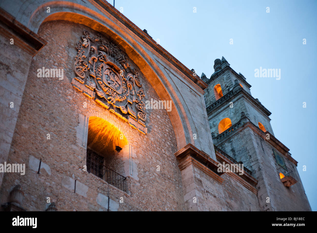 Floodlit facade of Merida's an Idelfonso Cathedral. The oldest cathedral in Mexico - Stock Image