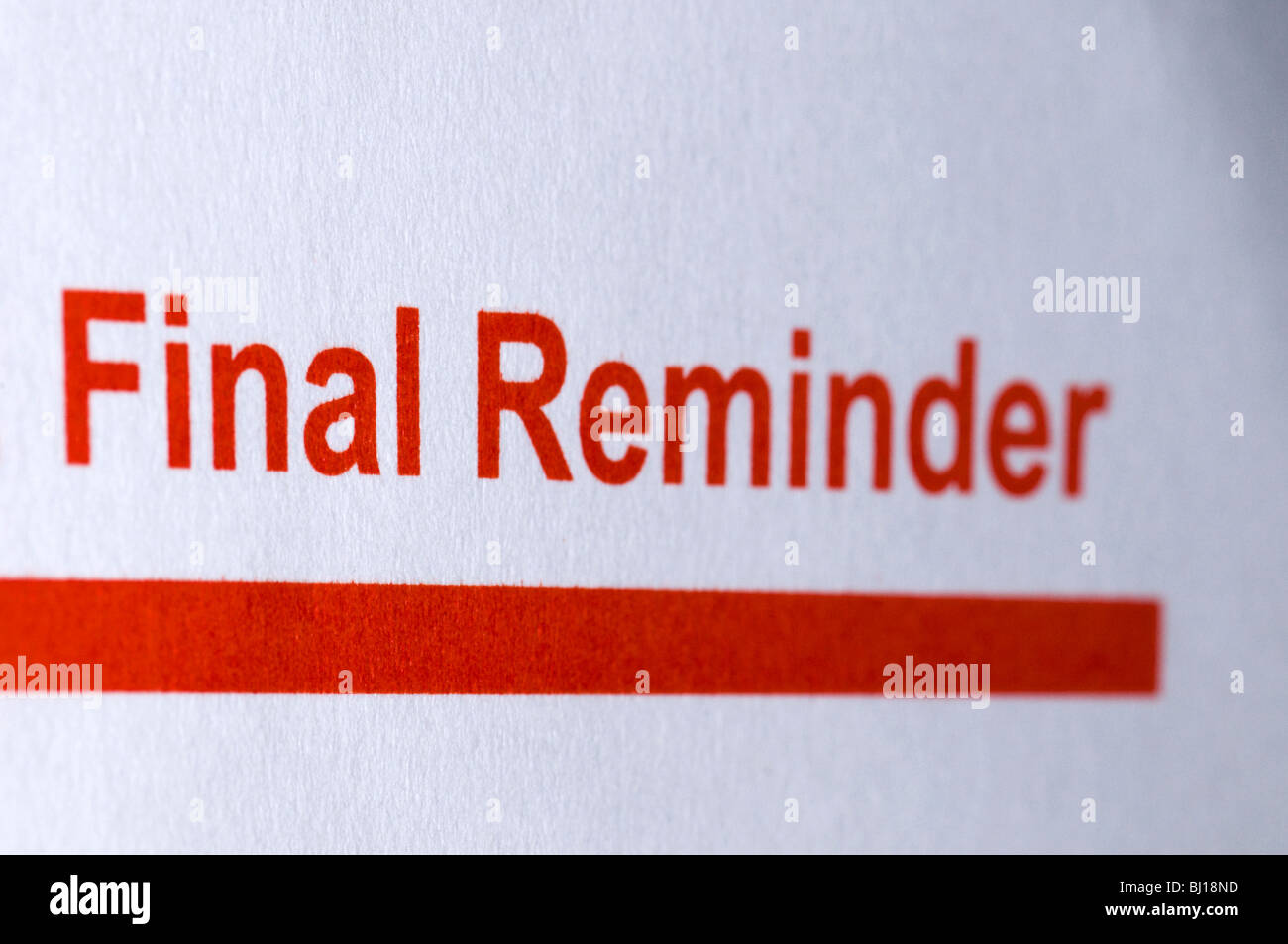 A final reminder from the Inland Revenue - Stock Image