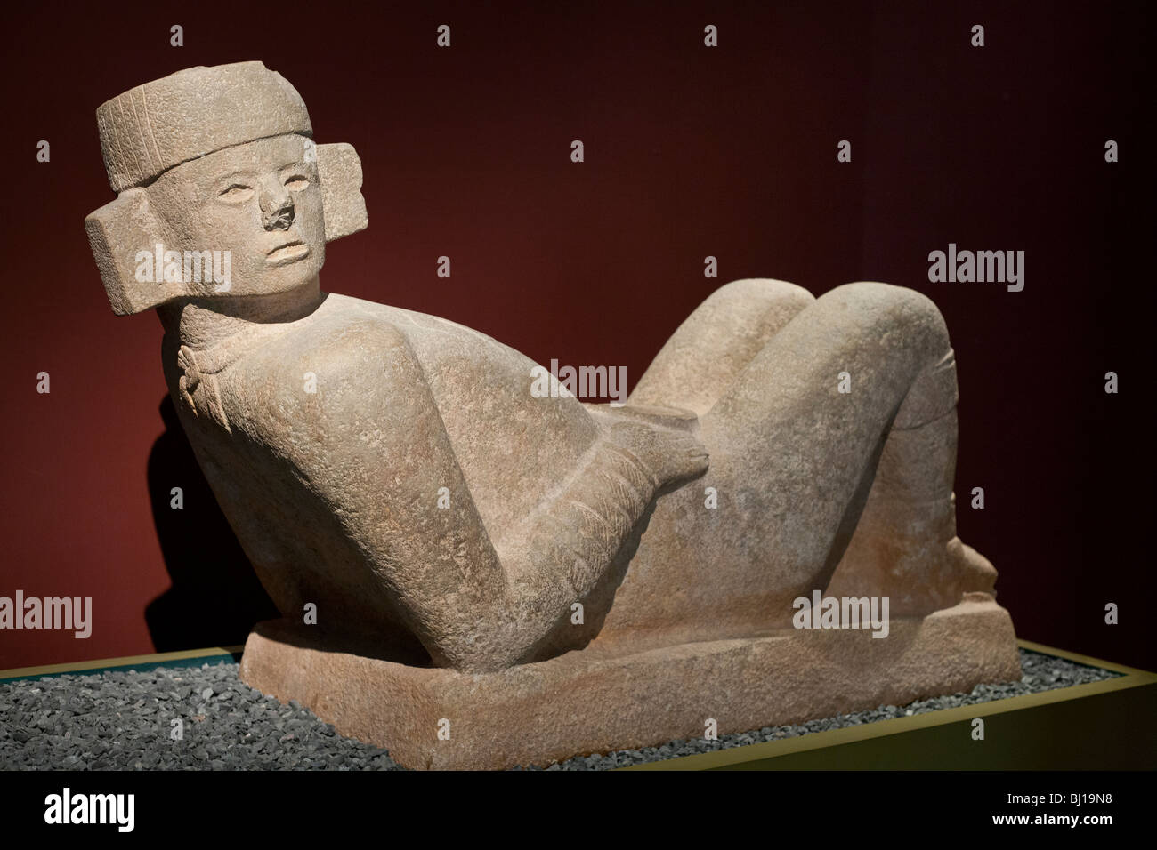 Chac Mool from Chichen Itza. Mayan-Toltec sculpture from 800-900AD. Museum of Archeology, Merida, Yucatan, Mexico - Stock Image