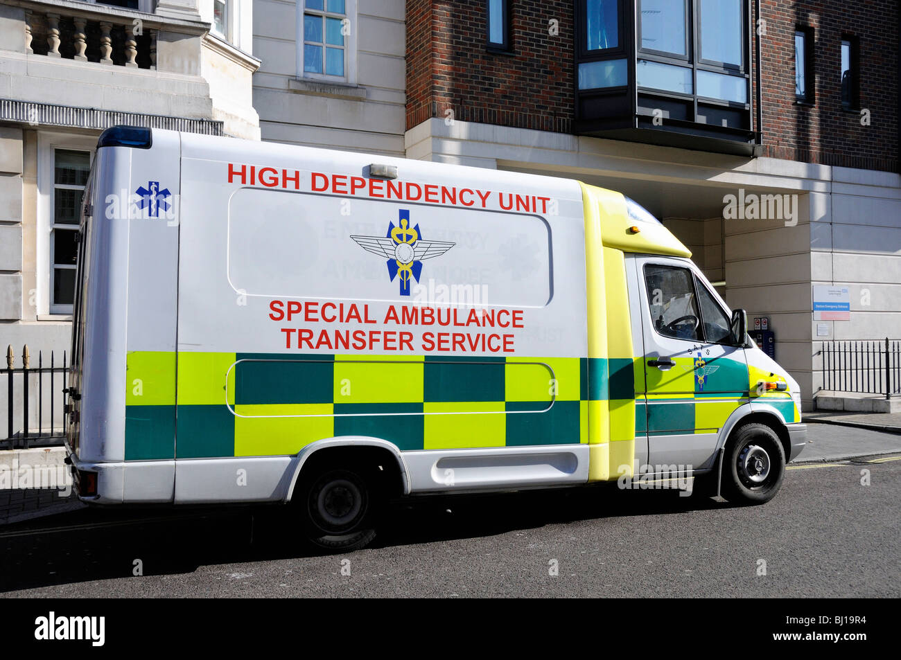 High Dependency Unit Special Ambulance Transfer Service outside The Heart Hospital Marylebone Central London UK - Stock Image