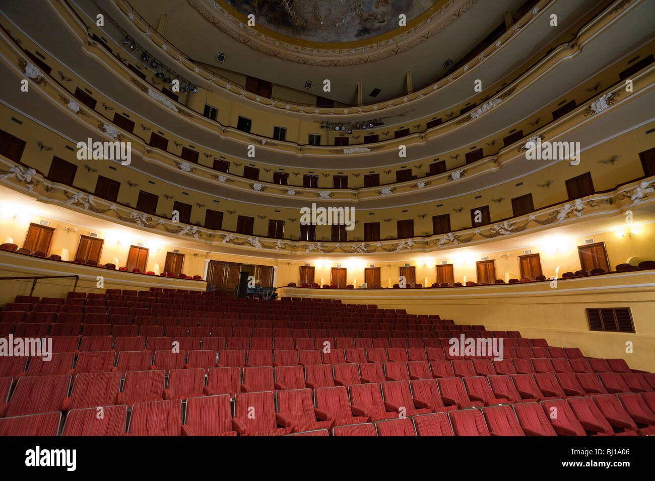 Grand Interior of Merida's opera hall and theatre.. Five layers of balconies surround the orchestra seating - Stock Image