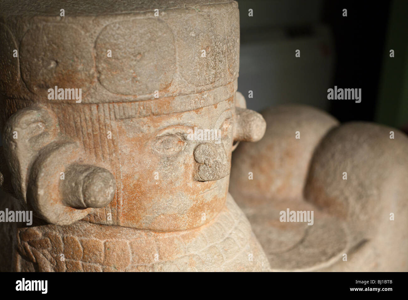 Detail of the face of a Chac Mool from Chichen Itza. Mayan-Toltec sculpture from 800-900AD. - Stock Image