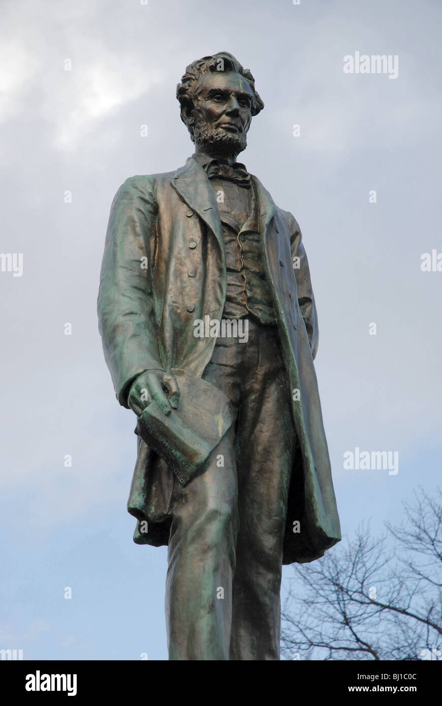 Statue of Abraham Lincoln by George Bissell on the memorial to Scottish American soldiers who fought in the American Stock Photo
