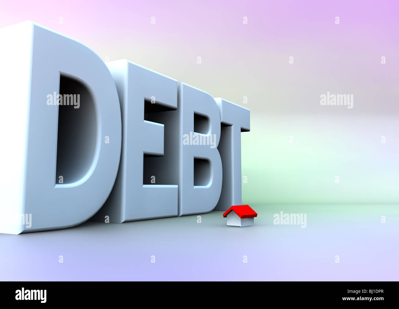 large; Debt; with; small house - Stock Image