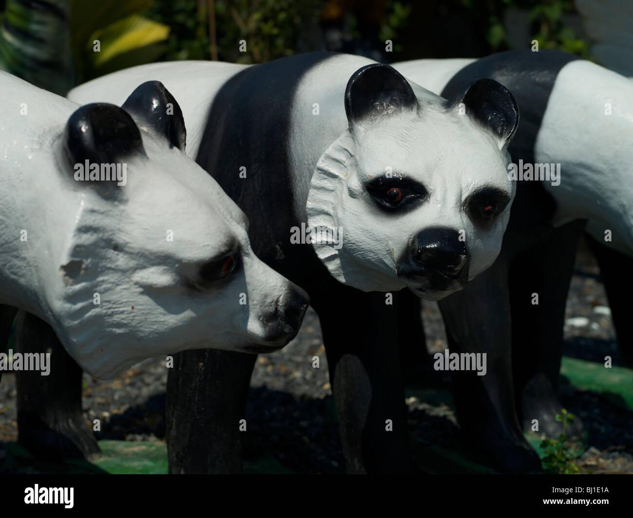 Concrete Pandas Garden Ornament