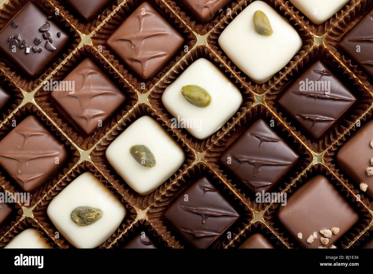 Handmade luxury chocolate in a box - shot in studio Stock Photo