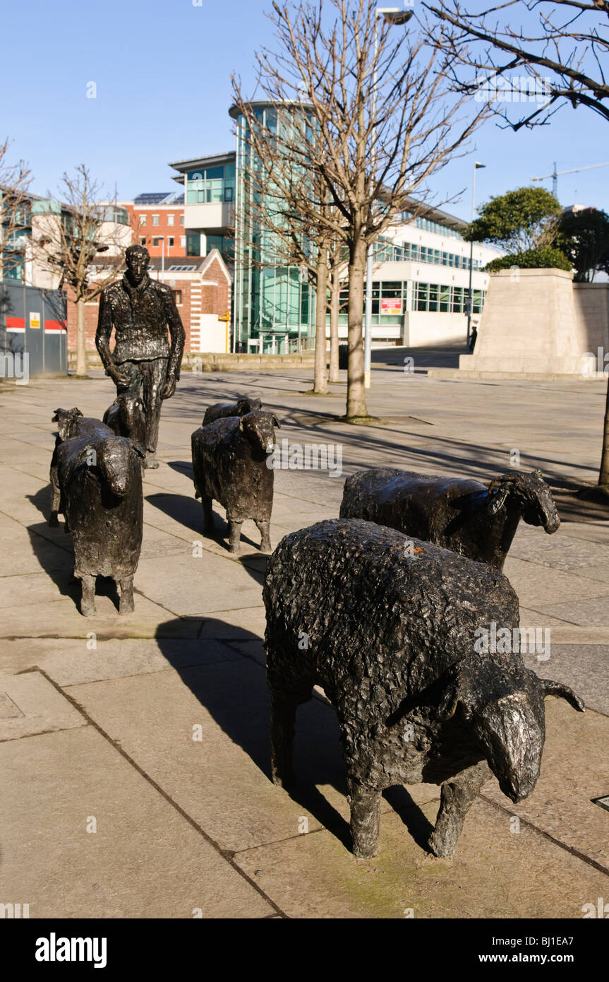 'Sheep on the Road' by Deborah Brown, a bronze sculpture at the Waterfront Hall, Belfast. - Stock Image