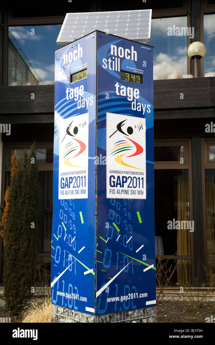 A countdown clock marks the days to the FIS World Championship at Garmisch-Partenkirchen in 2011. - Stock Image
