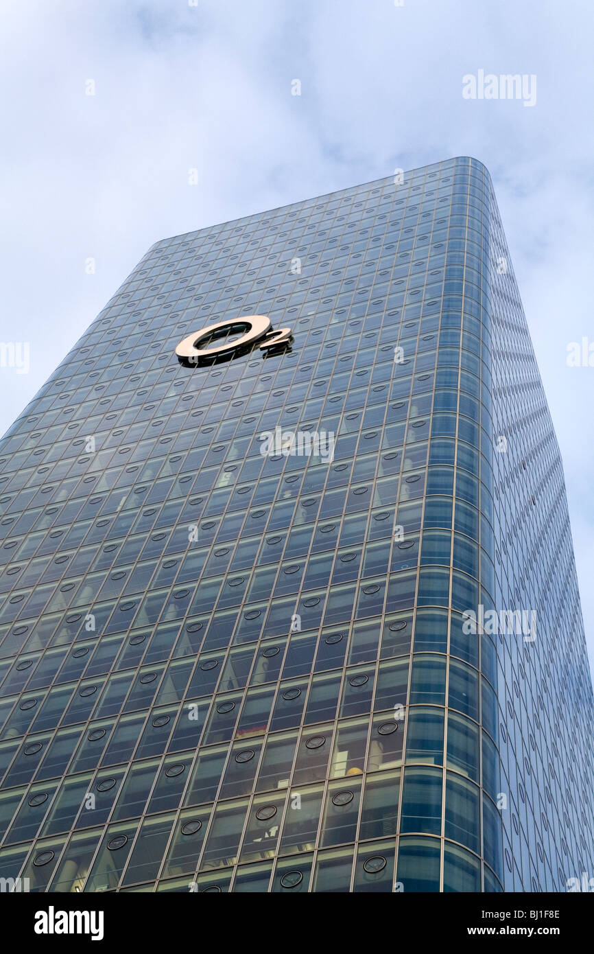 The o2 Germany headquarters at the Uptown Munich tower on Georg-Brauchle-Ring in Munich, Germany. - Stock Image