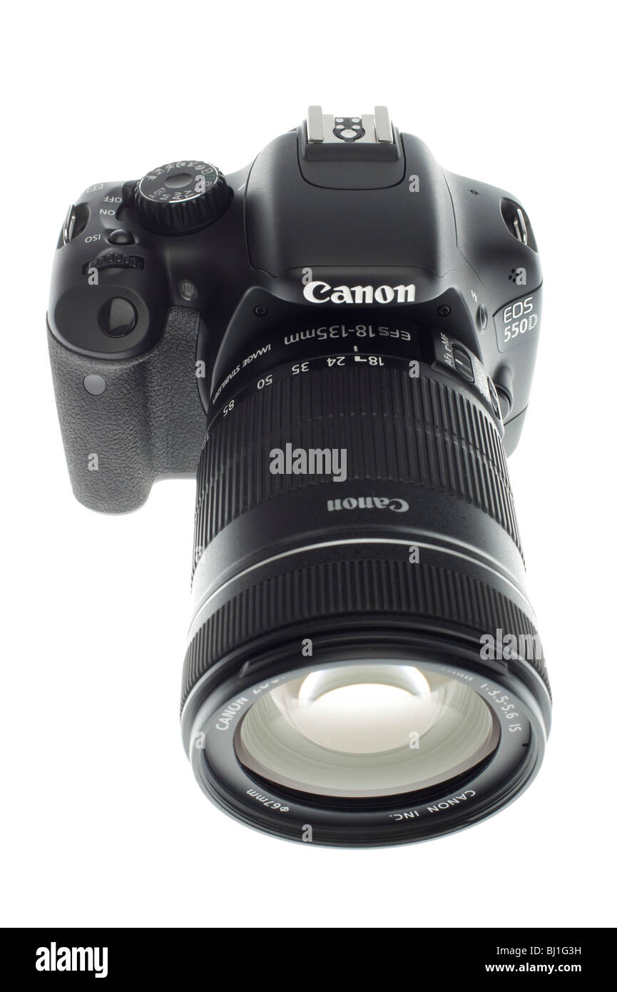 Canon EOS 550D or Digital Rebel 2Ti digital SLR camera with movie function March 2010. Camera fitted with 18-135mm - Stock Image