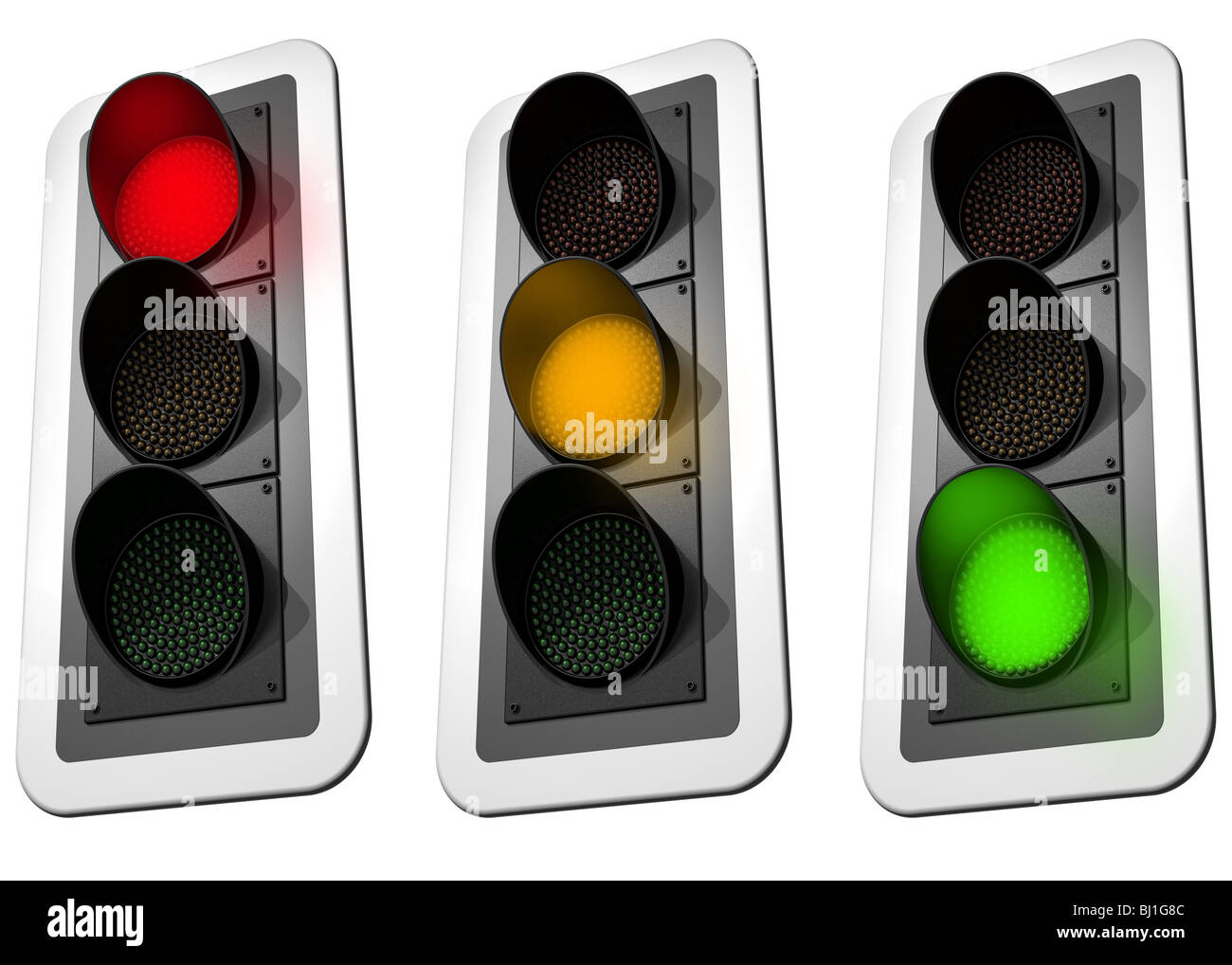 Isolated illustration of three signaling traffic lights - Stock Image