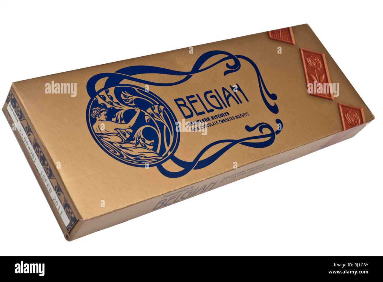 Embossed box of Belgian milk chocolate biscuits - Stock Image