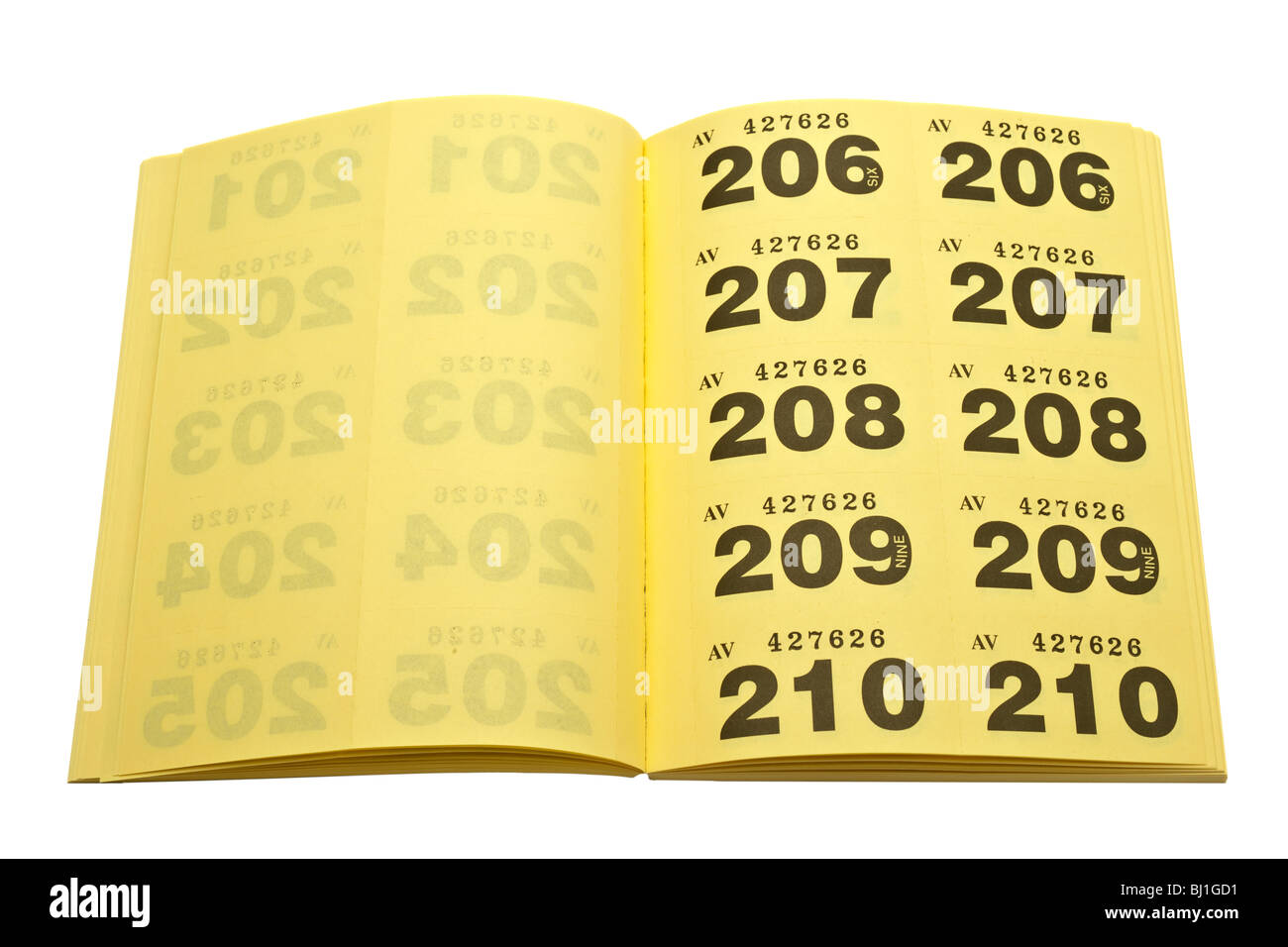 booklet filled with perforated numbered yellow cloakroom tickets