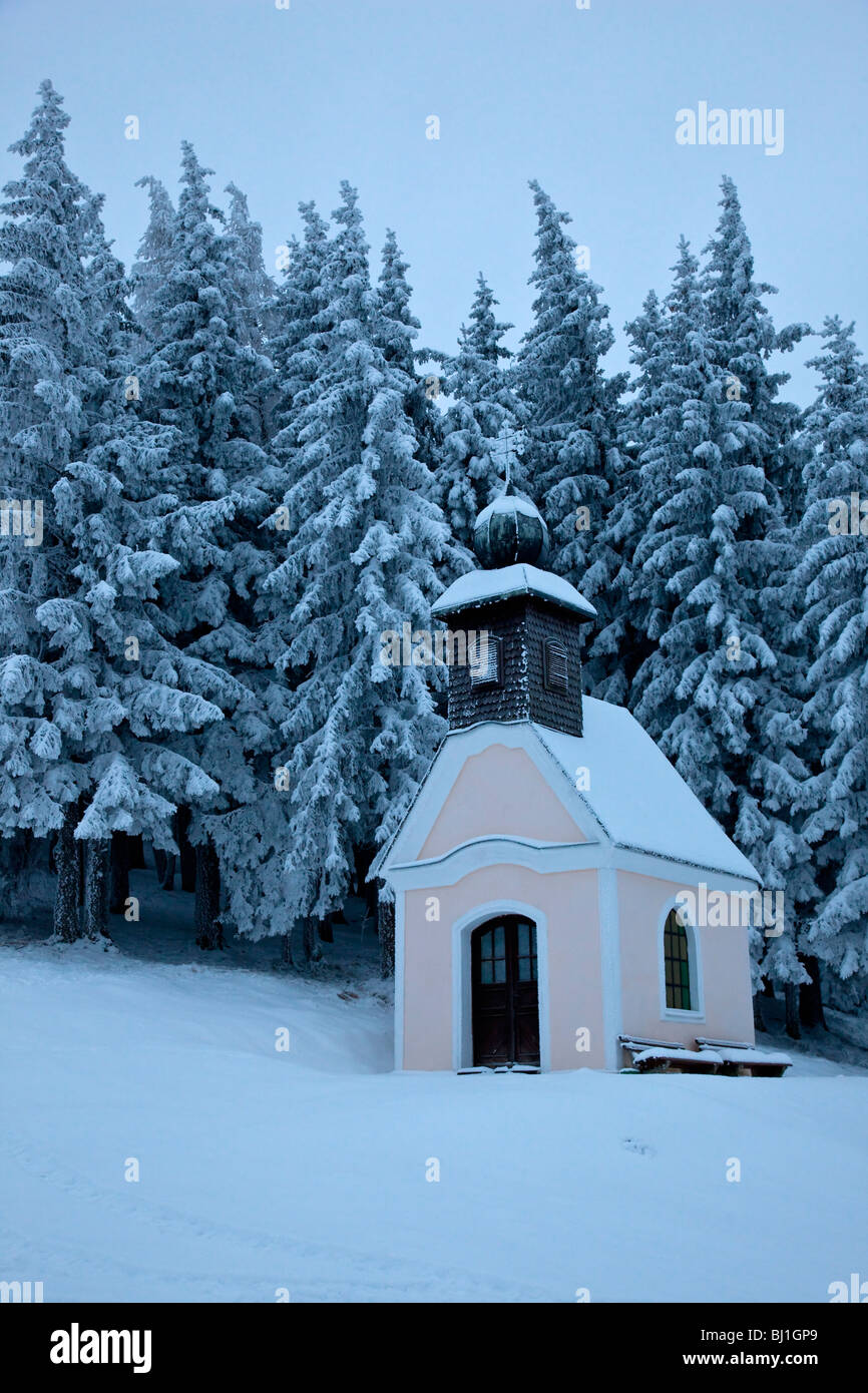 Small chapel or church in snowy trees (spruces) in winter - Stock Image