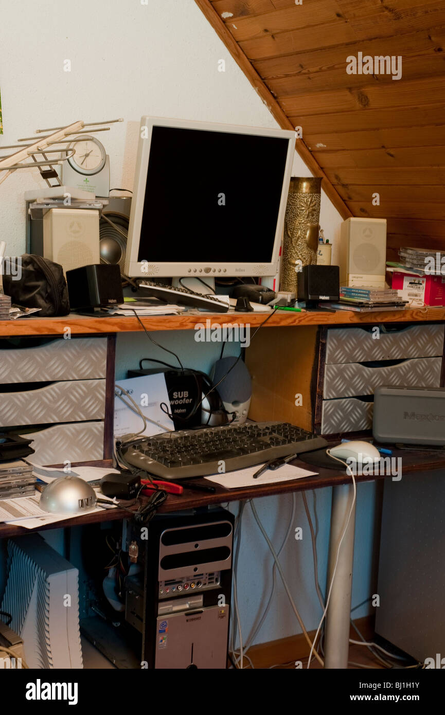 Office at Home, Inside Computer Desk, inside, nobody Stock Photo
