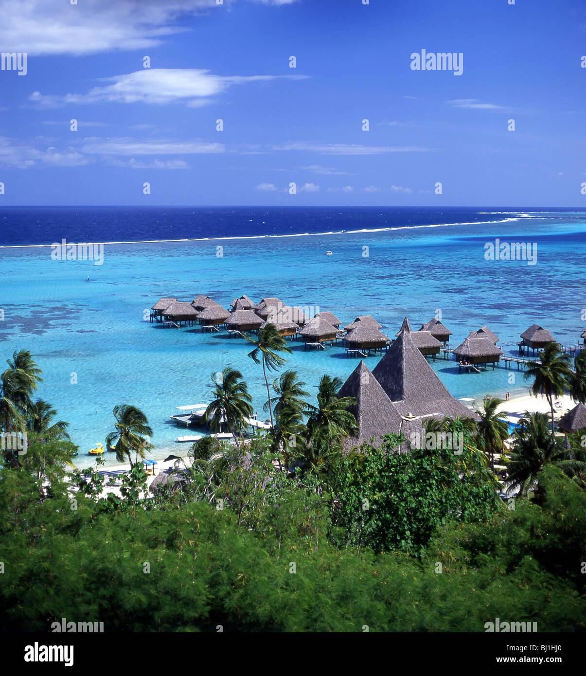 View Of Cabins Over Sea Sofitel Hotel Moorea Tahiti