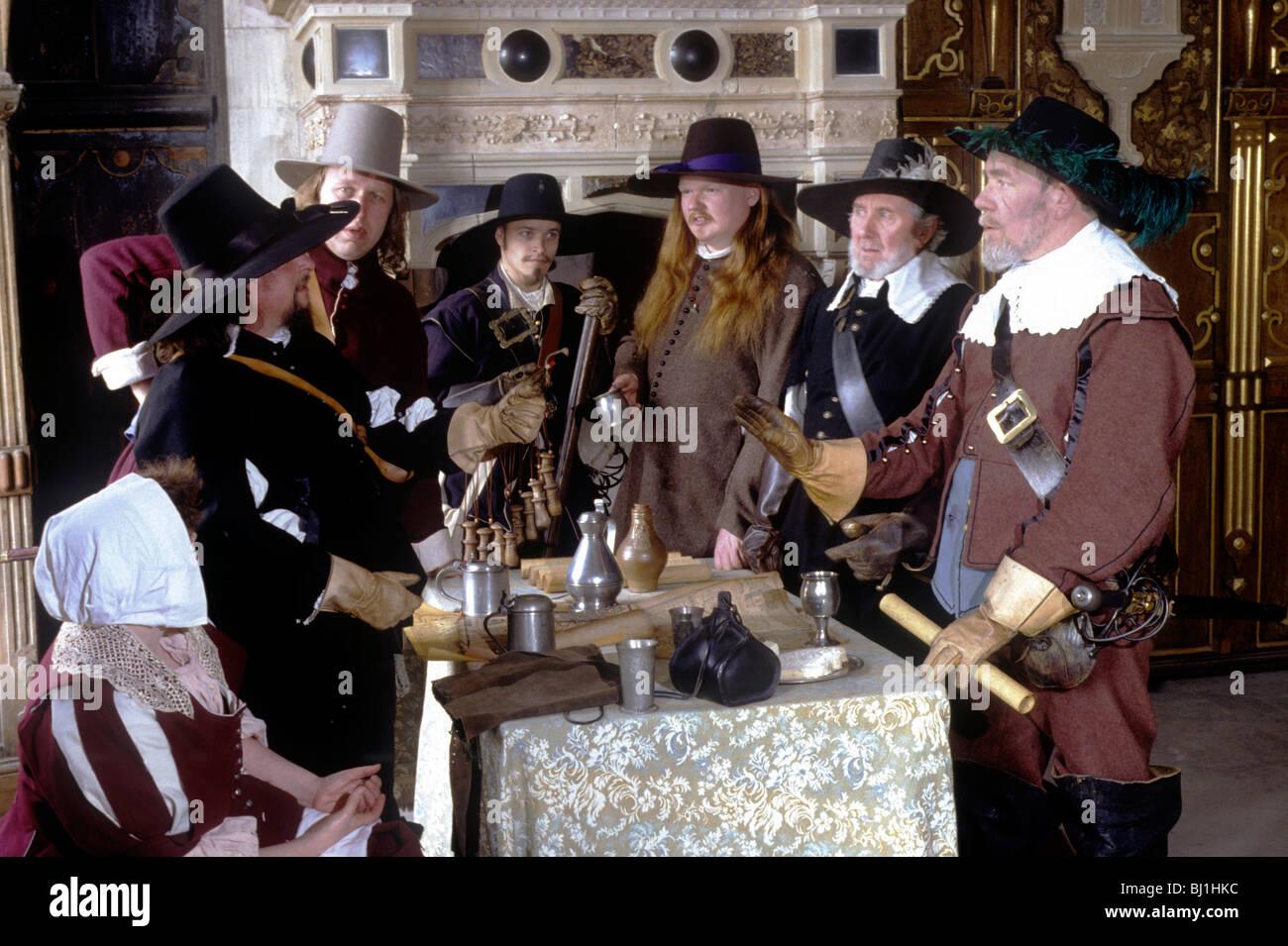 English Civil War period historical re-enactment British English military history uniform uniforms dress costume - Stock Image