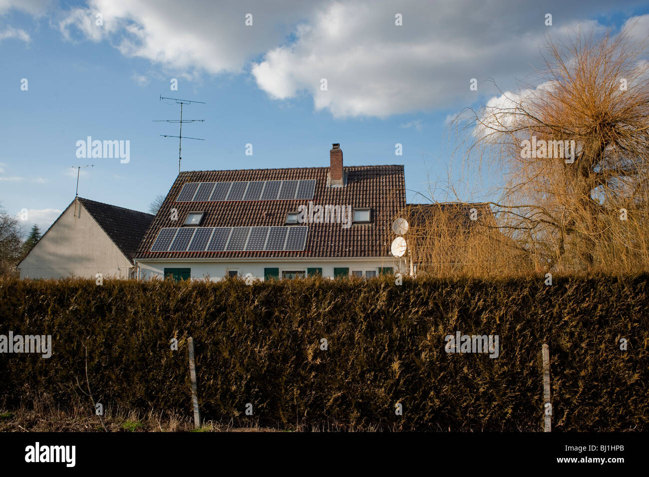 Somme Region, North of France, French Country House, Outside, Solar Energy Panels on Rooftop - Stock Image