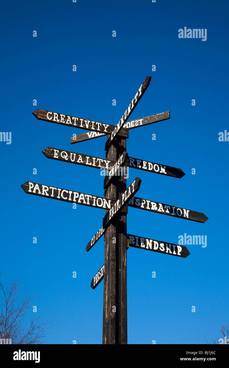Black & White painted Wooden School Sign on Pole   Motivational signpost pointers and Signage at Southport, Merseyside, Stock Photo