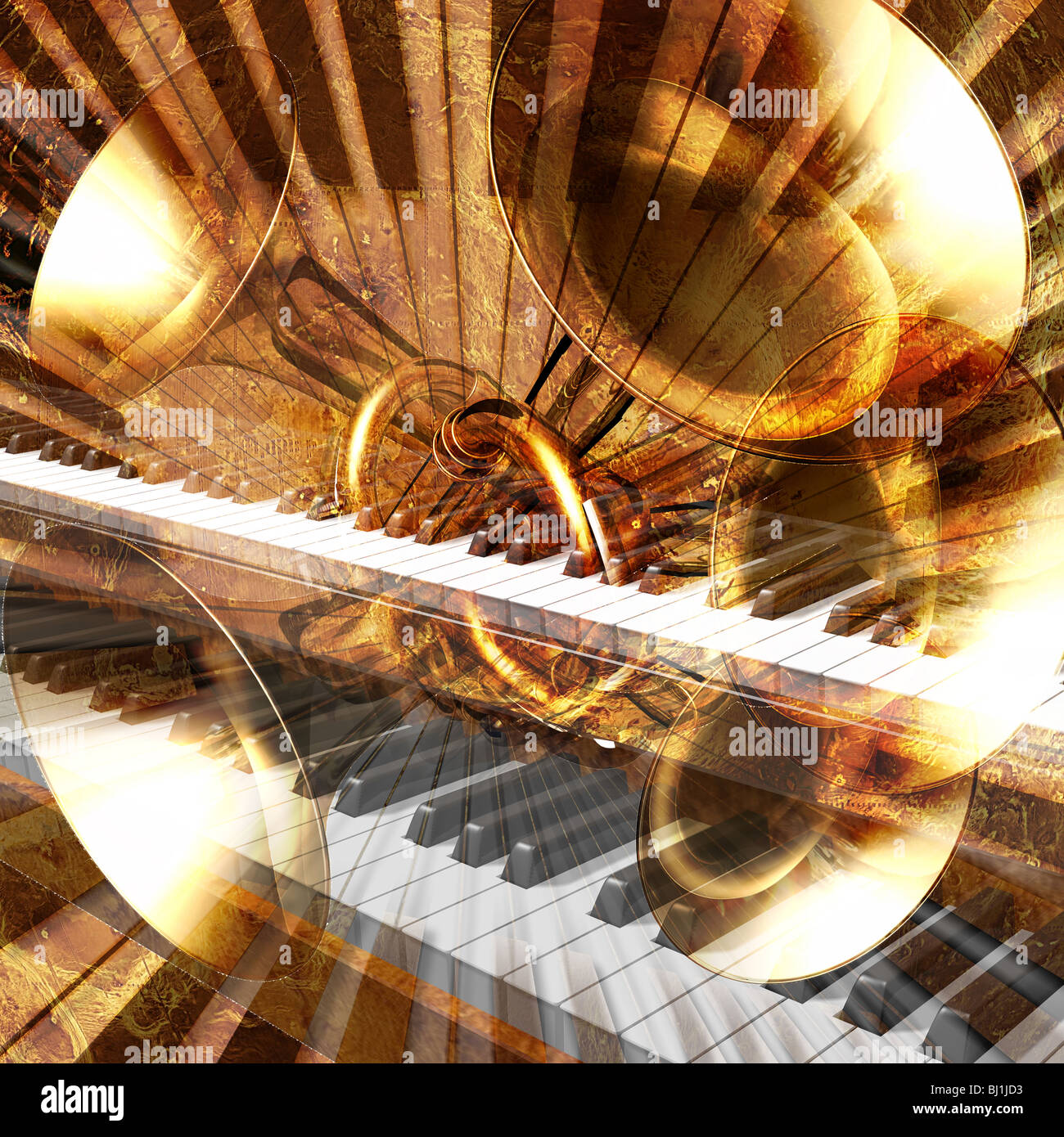 abstract musical background trumpet and piano - Stock Image