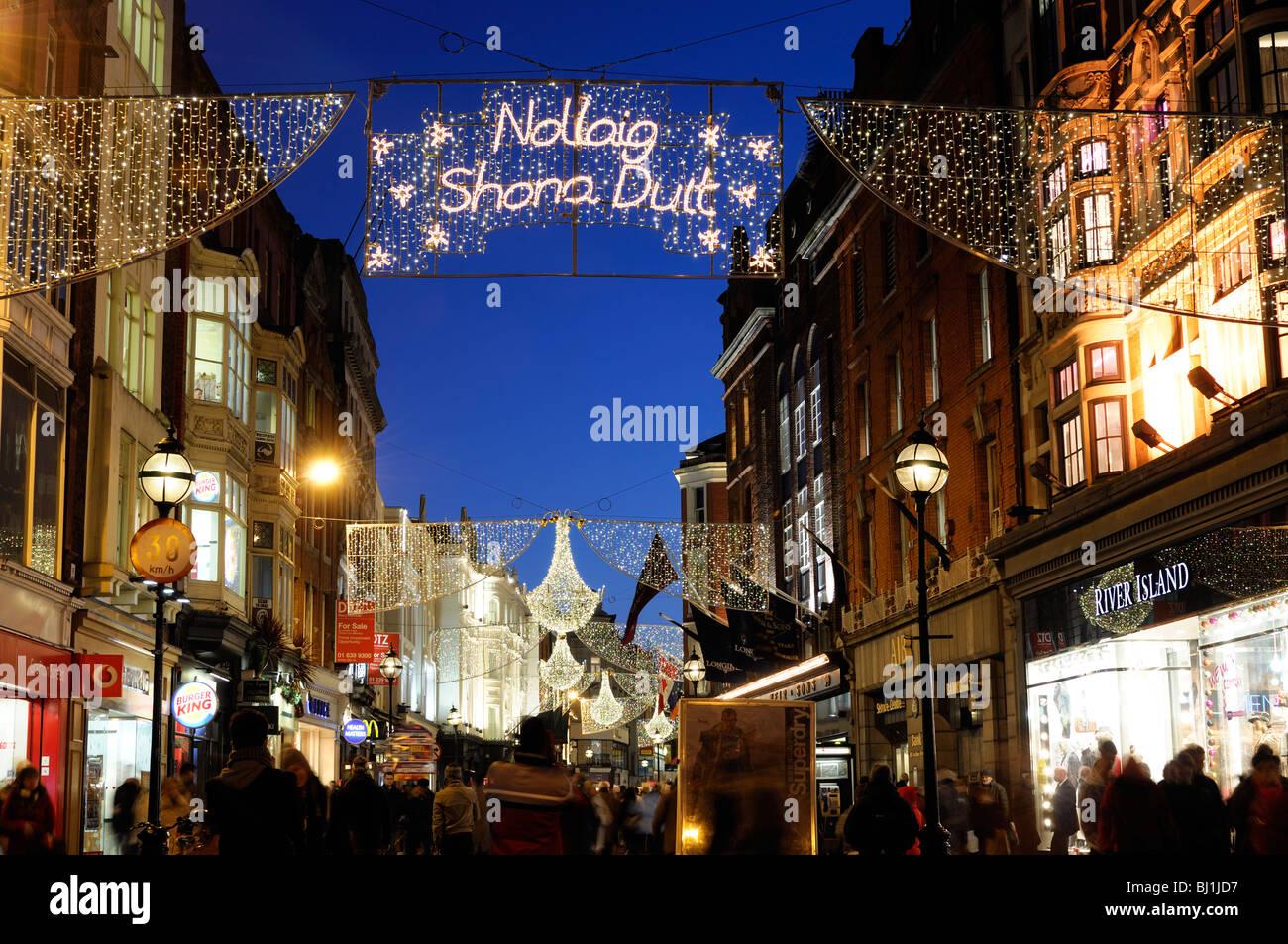 Christmas In Dublin Ireland.Christmas Lights Decorations Grafton Street Dublin Ireland