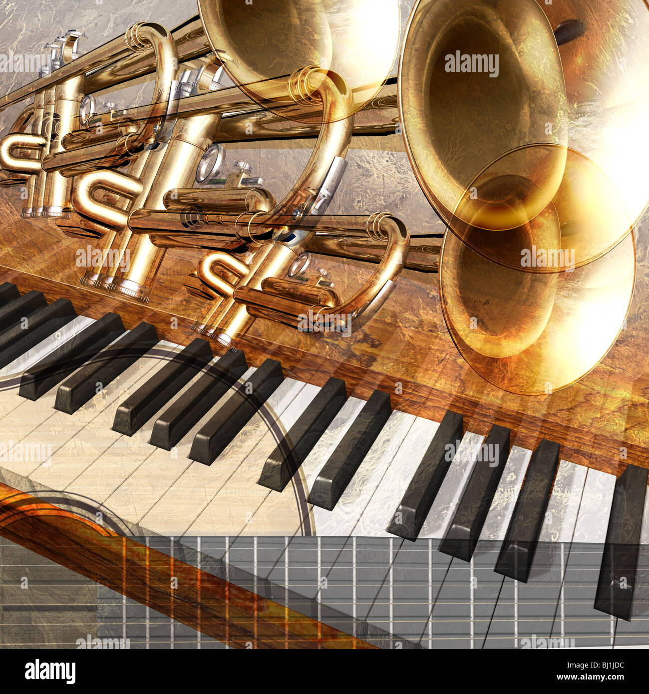 abstract musical background piano keys - Stock Image