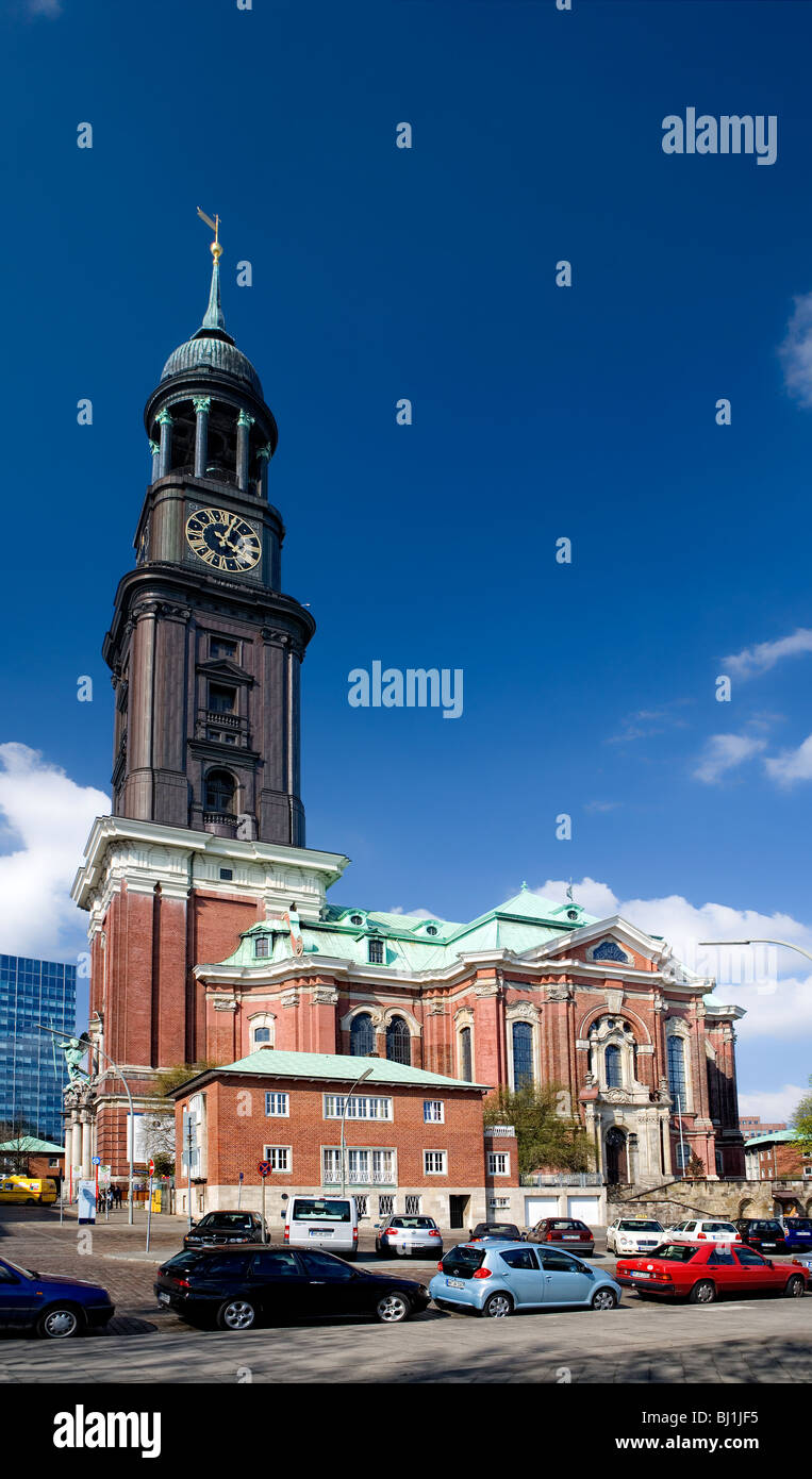 the Michel, St. Michaelis church on Hanseatic city of Hamburg, Germany, Europe - Stock Image
