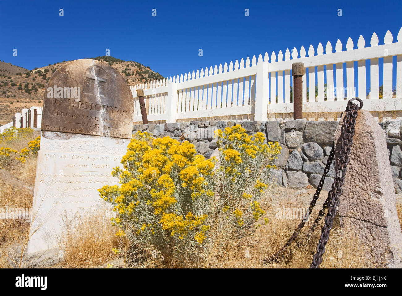 Exempt Firemen's Cemtery at the Silver Terrace Cemeteries, Virginia City, Nevada, USA - Stock Image