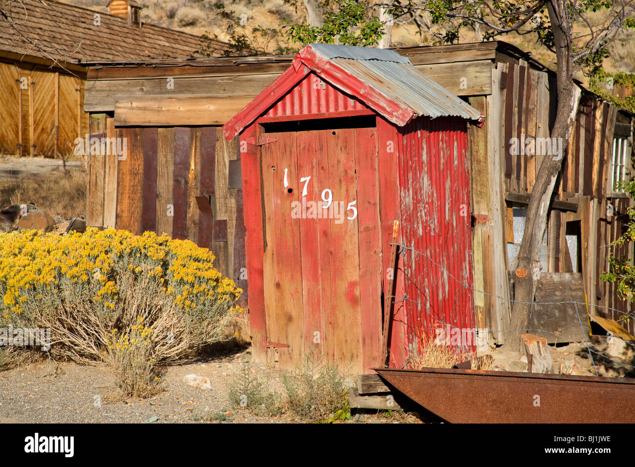 Outhouse in Gold Hill near Virginia City, Nevada, USA - Stock Image