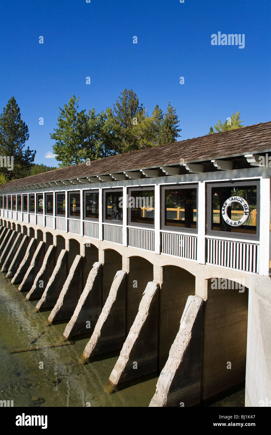 Tahoe City Dam on the Truckee River, Lake Tahoe, California, USA - Stock Image